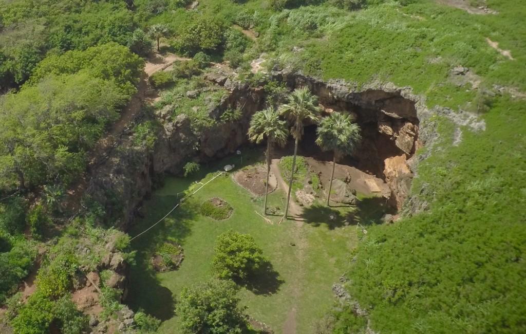 Drone photo of Makauwahi Cave
